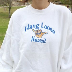 Vintage Hawaii Hang Loose Embroidered Crew Neck